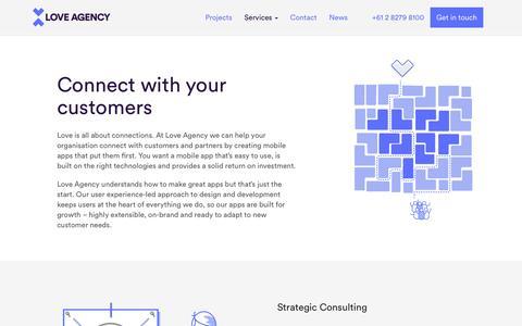 Screenshot of Services Page loveagency.com.au - Services | Mobile App Development | UX & UI Design - captured Dec. 26, 2016