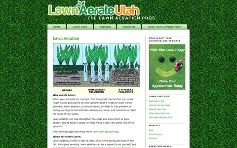 Screenshot of Home Page lawnaerateutah.com - Utah Lawn Aeration Pros | Core Aerate Lawn Care | Lawn Airation - captured Oct. 6, 2014