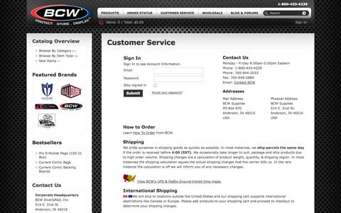 Screenshot of Support Page bcwsupplies.com - Customer Service | BCW Supplies - captured Sept. 22, 2014