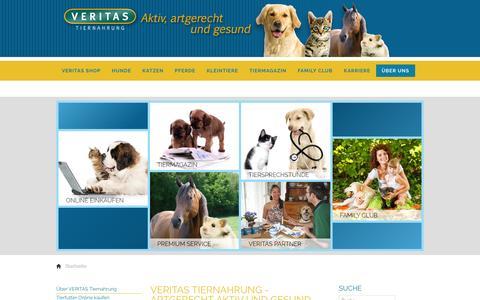 Screenshot of Home Page veritas-tiernahrung.de - Hundefutter und Katzenfutter von VERITAS ist artgerecht, aktiv, gesund - captured June 10, 2016