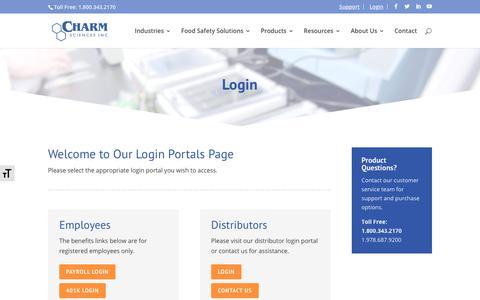 Screenshot of Login Page charm.com - Login - Charm Sciences - captured Sept. 27, 2018