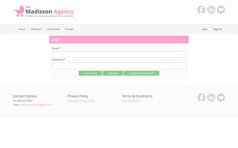 Screenshot of Login Page themadissonagency.com - The Madisson Agency - captured Dec. 17, 2016