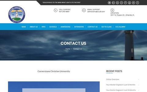 Screenshot of Contact Page ccudl.com - Contact Us – Cornerstone Christian University - captured Sept. 29, 2018