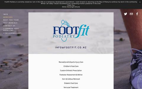 Screenshot of Services Page footfit.co.nz - Services — Footfit Podiatry - Podiatry Services - captured Oct. 14, 2017