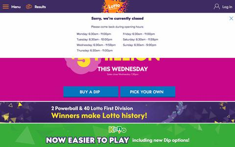 Screenshot of Home Page mylotto.co.nz - MyLotto - captured Sept. 23, 2018