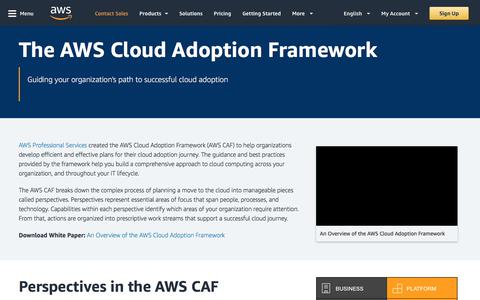 The AWS Cloud Adoption Framework