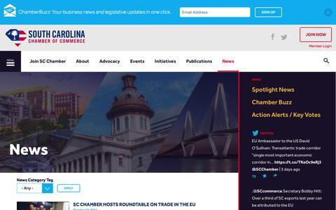 Screenshot of Press Page scchamber.net - News | South Carolina Chamber of Commerce - captured Oct. 23, 2017