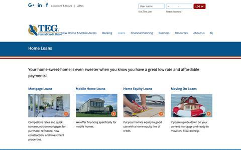 Screenshot of tegfcu.com - Home Loans – TEG Federal Credit Union - captured Dec. 2, 2017