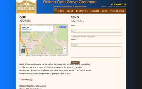 Screenshot of Privacy Page Contact Page goldengategravegroomers.com - Contact Us - captured Dec. 12, 2015