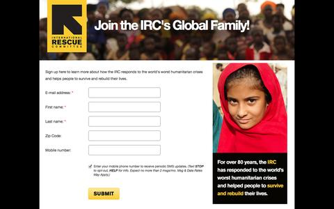 Screenshot of Landing Page rescue.org - Join the IRC's Global Family! | International Rescue Committee - captured Oct. 27, 2014