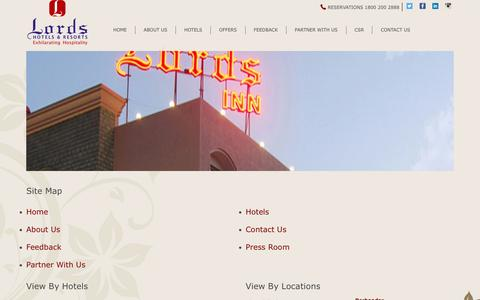 Screenshot of Site Map Page lordshotels.com - Lords Hotels & Resorts, India - Sitemap - captured Nov. 13, 2016