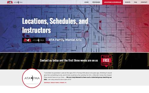 Screenshot of Locations Page atafma.com - Locations, Schedules, and Instructors   ATA Family Martial Arts - captured Nov. 2, 2014