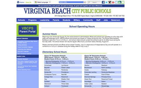 Screenshot of Hours Page vbschools.com - Virginia Beach City Public Schools - School Operating Hours - captured June 26, 2017
