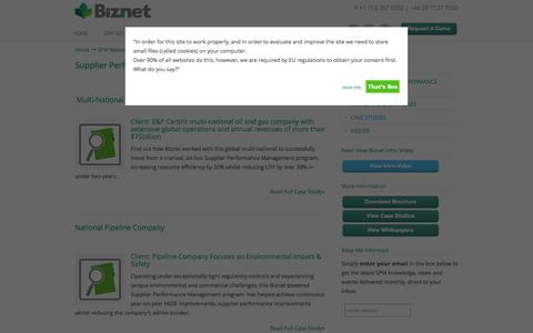 Screenshot of Case Studies Page biznetsolutions.com - Biznet Client Case Studies - How Clients Successfully Implement SPM - captured Oct. 5, 2014