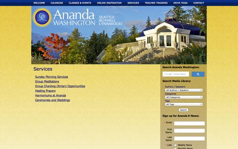Screenshot of Services Page anandawashington.org - Services | Ananda Washington - captured Nov. 2, 2014
