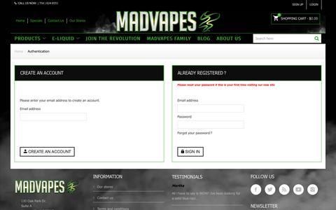 Screenshot of Login Page madvapes.com - Login - Madvapes - captured June 27, 2017