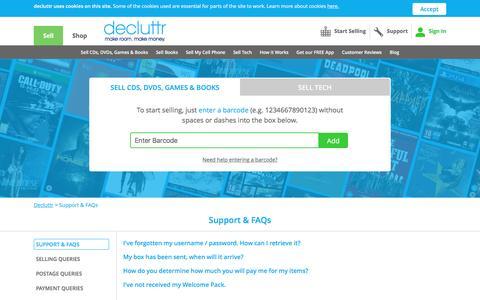 Screenshot of Support Page decluttr.com - Support & FAQs| Decluttr - captured April 21, 2017