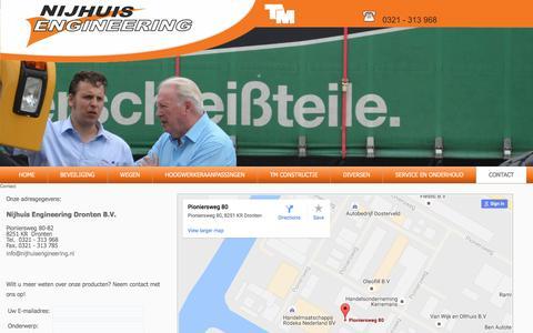 Screenshot of Contact Page nijhuisengineering.nl - Contact - Nijhuis Engineering Dronten B.V. - captured Aug. 13, 2016