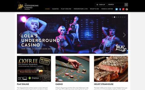 Screenshot of Home Page hippodromecasino.com - Hippodrome Casino - captured Sept. 22, 2014