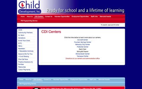 Screenshot of Locations Page childdevelop.org - CDI Centers | Child Development - captured Jan. 27, 2016