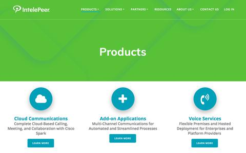 Screenshot of Products Page intelepeer.com - Products - IntelePeer Cloud Communications - captured July 12, 2018