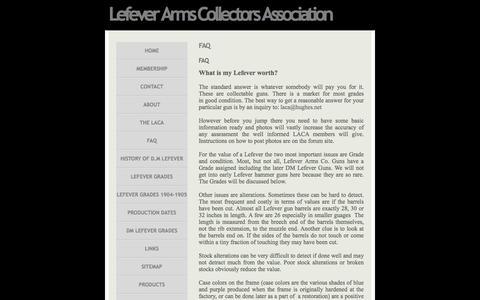 Screenshot of FAQ Page lefevercollectors.com - FAQ » Lefever Arms Collectors Association - Guns of Lasting Fame - captured June 10, 2016