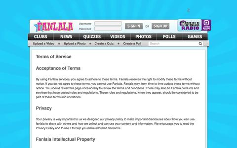 Screenshot of Terms Page fanlala.com - Terms of Service | Fanlala.com - captured Sept. 23, 2014