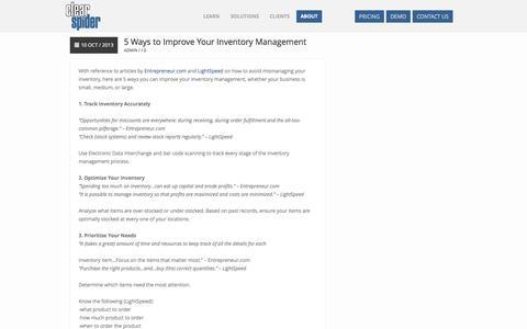 Screenshot of Blog clearspider.com - Inventory Management Software Blog - captured Sept. 19, 2014