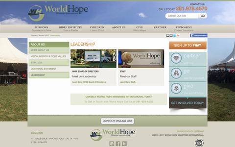Screenshot of Team Page whmi.org - Leadership - World Hope Ministries International - captured Nov. 6, 2017