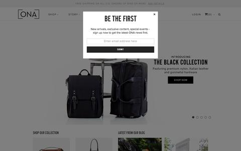 Screenshot of Home Page onabags.com - ONA |  Fine Bags and Accessories | Stylish Camera Bags and Accessories - captured Oct. 6, 2015