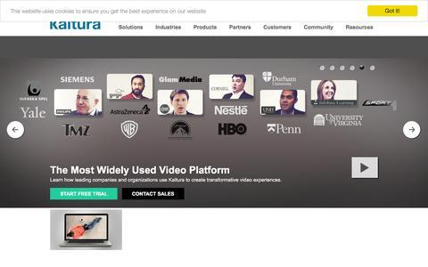 Screenshot of Menu Page kaltura.com - Kaltura Video Platform - captured Feb. 10, 2016