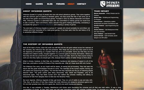 Screenshot of About Page infamous-quests.com - Infamous Quests | Home of Quest for Infamy - captured Sept. 19, 2014
