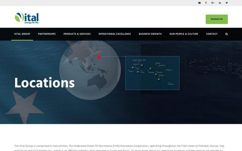 Screenshot of Locations Page vitalenergy.fm - Operating Locations | The Vital Group - Energy Supplier FSM Micronesia - captured Oct. 21, 2017