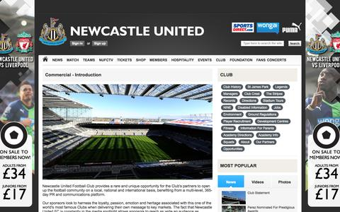 Screenshot of About Page nufc.co.uk - Newcastle United | Club | Commercial | About | Commercial - Introduction - captured Oct. 26, 2014