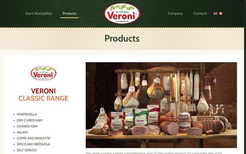 Screenshot of Products Page veroni.it - Products - Veroni - captured Sept. 30, 2017