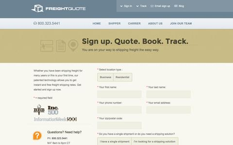 Screenshot of Signup Page freightquote.com - Free, Real-Time Freight Shipping Rates | Freightquote - captured Aug. 4, 2016