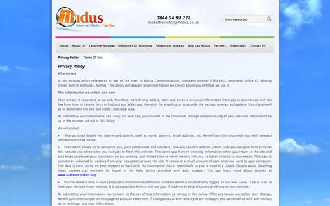 Screenshot of Privacy Page midus.co.uk - Midus Communications Privacy Policy - captured Oct. 27, 2014