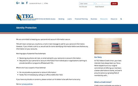 Screenshot of tegfcu.com - Identity Protection – TEG Federal Credit Union - captured Dec. 2, 2017