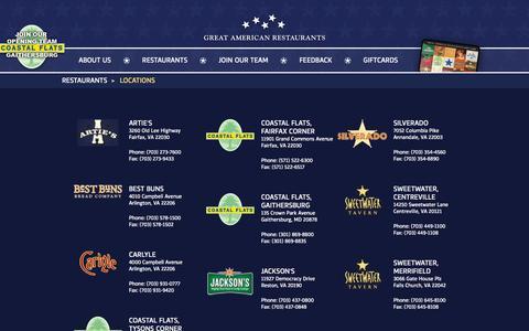 Screenshot of Locations Page greatamericanrestaurants.com - Locations   gar - captured Sept. 25, 2014