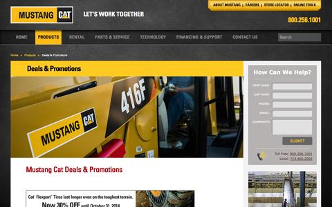 Screenshot of Services Page mustangcat.com - Mustang Cat equipment & machinery deals, offers and special promotions - captured Oct. 9, 2014