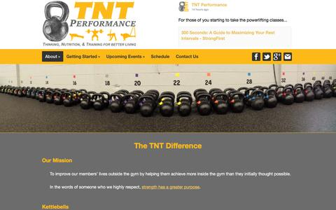 Screenshot of About Page tntperformancetraining.com - The TNT Difference | TNT Performance - captured Feb. 16, 2016
