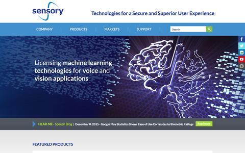 Screenshot of Home Page sensory.com - Home | Sensory - captured Dec. 17, 2015