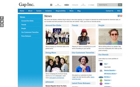 Screenshot of Press Page gapinc.com - News - captured Sept. 23, 2014