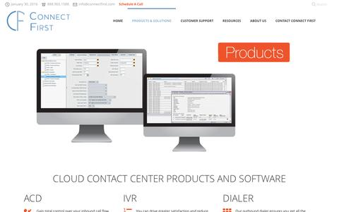 Screenshot of Products Page connectfirst.com - Cloud Contact Center Software | IVR, ACD, Outbound Dialer & Routing - captured Jan. 30, 2016