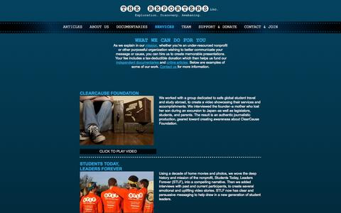Screenshot of Services Page thereporters.org - The Reporters Inc - A Nonprofit Multimedia Production House - captured Oct. 9, 2014