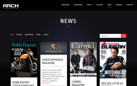 Screenshot of Press Page archmotorcycle.com - News — Arch Motorcycle - captured May 7, 2017