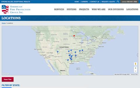 Screenshot of Locations Page afpgusa.com - Locations | American Fire Protection Group - captured March 31, 2016