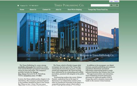 Screenshot of About Page tampabay.com - Home Page | Times Publishing Inc. - captured Sept. 18, 2014