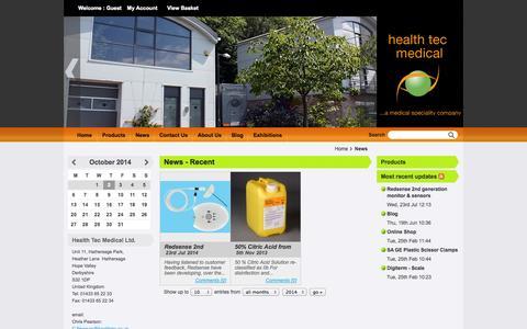 Screenshot of Press Page healthtec.co.uk - News - Recent - Health Tec Medical Ltd. - captured Oct. 2, 2014
