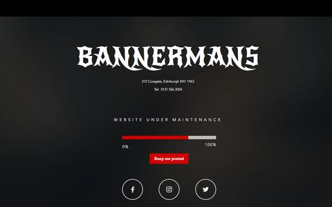 Screenshot of Home Page bannermanslive.co.uk - Bannermans Live | Edinburgh - captured Feb. 18, 2018